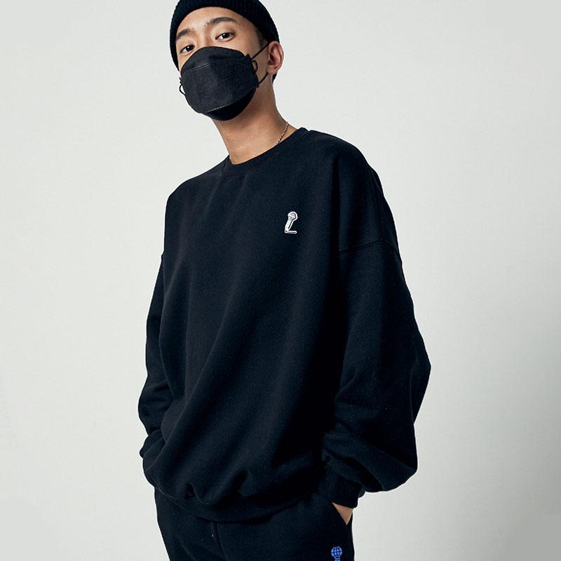 [아메바컬쳐] MIC 오버핏 맨투맨_딥 블랙 썸네일